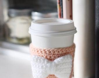 Crochet Coffee/Tea Cozy | Peach with White Bow