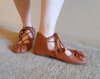 Handmade Leather Sandals, Custom Made, Medieval Sandal, Soft Sole Sandal, Renaissance Faire, Hand Sewn Leather Shoe, Woodland, Fairy