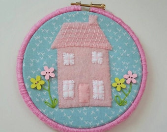 "50% off SALE Little pink house handmade embroidery hoop art, 5"" hoop frame"