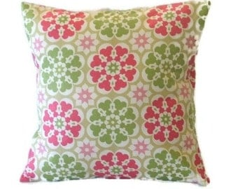 CLEARANCE SALE! Tangerine and Green Print Decorative Pillow Cover, 18 x 18 inches