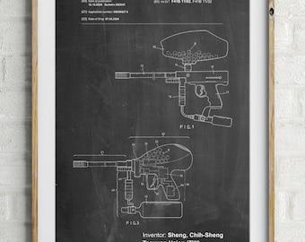 Paintball Gun Patent Art, Paintball Art, Mens Gifts, Man Cave, PP0982