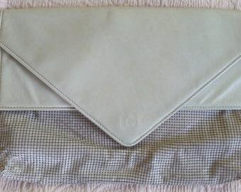 Oroton light grey Glomesh clutch