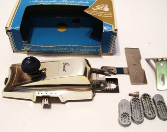 Vintage Greist Automatic Buttonholer Stitch Attachment w Manual and Original Box