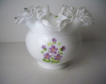1960s Vintage Small Fenton Vase Hand Painted Milk Glass with Ruffled Clear Trim signed by the artist and made in USA