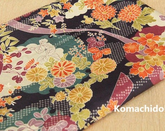 Vintage Japanese Cotton Fabric Printed with Colorful Flowers , Floral Cotton Fabric for Dress/Tablecloth/Home Décor ETC –1/2 Yard