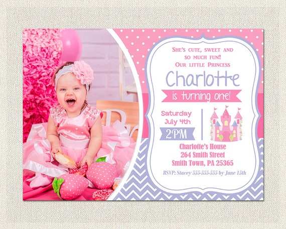 First Birthday Invitation pink purple girl 1st birthday invite – Pink 1st Birthday Invitations
