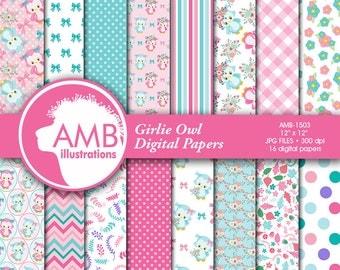 Girlie Owl Digital Papers, Owl digital papers, Girl Owl Digital papers, Pastel Colored Owls, commercial use, AMB-1503