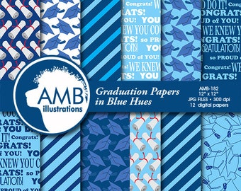 Graduation digital papers, Grad papers, Graduation scrapbook papers, commercial use, digital backgrounds, Craft Supplies, AMB-182