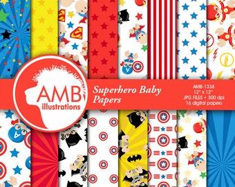 80%OFF Superhero scrapbook paper, super hero baby digital papers, superhero baby papers, superhero pattern, cu, AMB-1338