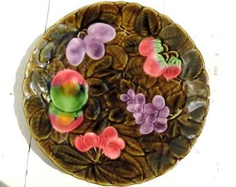 French Vintage Platter With Fruit/Vintage Platter With Fruit/Vintage Sarreguemines Majolica Platter/Barbotine Serving Plate/Fruit Platter