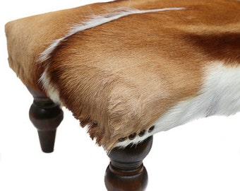 springbok footstool stool cowhide cow hide fur african game hair