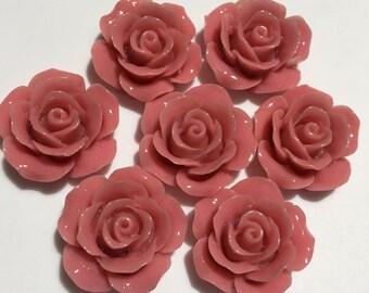 6 pcs 23 mm Dark Coral Cabochon Flowers,23 mm Dark coral Rose,dark coral rose cabochon,dark Coral flower,coral resin flower,coral rose