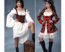 B6114, Misses' Pirate, Peasant dress, Jacket, Puff Sleeve Dresses and Underbust Vest, halloween costume, cosplay