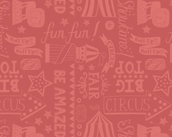 Lewis & Irene Patchwork Quilting Fabric Vintage Circus A142.3 Roll up! Roll up! soft red