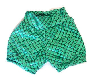 Mermaid Bubble shorts//girls//baby//toddler//costume//shorts only