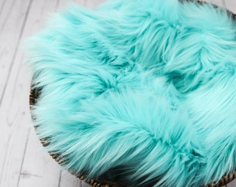 SALE - Aqua Blue, Cozy, Cuddly Faux Fur Nest - Perfect Newborn Photography Prop - Plush Long Pile, Stuffer, Filler, Layering, Bean Bag Cover