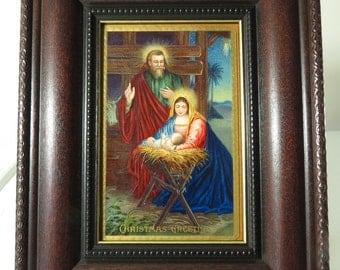 Stunning Nativity Scene Framed Original Antique Postcard In Wood Frame Holiday Wall Art