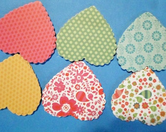 72 Large Scalloped Hearts Embellishments Decorations Various Prints Colors -- code 7