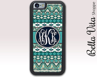 Aztec iPhone 6 6S Plus Case Teal, Monogrammed iPhone 6 6S Plus Case, iPhone 6 6S Plus Case, Personalized iPhone 6 6S Plus Case