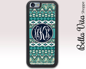 iPhone 6 Plus Case Aztec Teal, Monogrammed iPhone 6S Plus Case, Personalized Hipster 1175 I6P