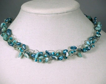 Aqua freshwater pearl Necklace