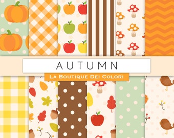 Fall digital paper. Cute digital paper pack of Autumn backgrounds Fallen Leaves, pumpkins, apples patterns for commercial use clipart