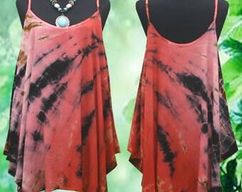 Bleach Rusty Abstract Tie Dye Artwork Gypsy Spaghetti Tank Top