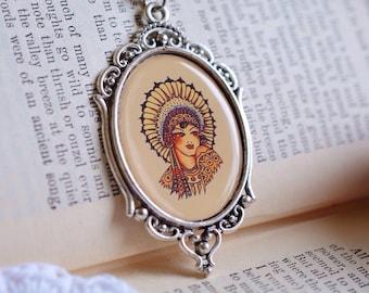 Sailor Jerry Indian Girl Cameo Necklace//Flash Art//Nautical//Rum//Pin Up//Rockabilly Jewelry