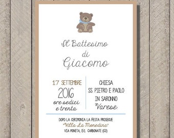 PDF, Baptism invitation card with teddy bear, printable custom birthday invititation- baby shower diy