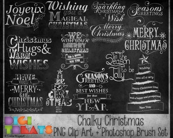 50% OFF Chalk Effect Christmas Word Art + Photoshop Brushes, Christmas Word Art Overlays, Scrapbooking embellishment, Chalk Board Effect
