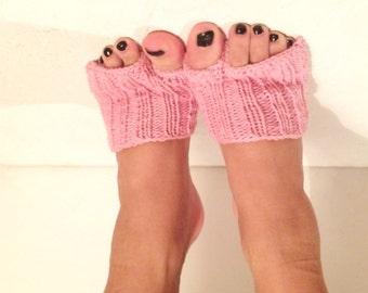 Hand Knitted Flip-flop Socks Toeless Socks, pink Flip Flop Sox, Dance, Yoga Pilates Socks, Footwarmers, foot guards, foot savers