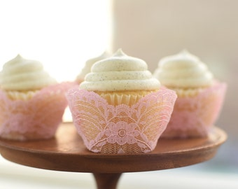 Real Pink Lace Cupcake Wrappers / Liners - wedding, rustic, vintage, princess, tea party, birthday, bridal shower, baby, bachelorette