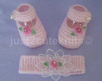 Hand knitted Baby Girls Mary Jane Booties and Matching Headband