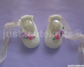 Hand knitted Baby Girls Ballet Booties