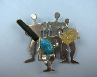Signed STERLING Pin Brooch with Crystals and Turquoise