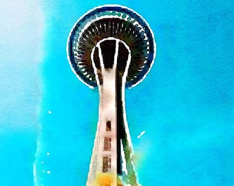 Space Needle Watercolor Print