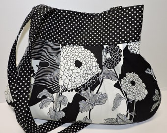 Cute Black and White Hobo Bag/Handbag/Tote/Slouchy Bag