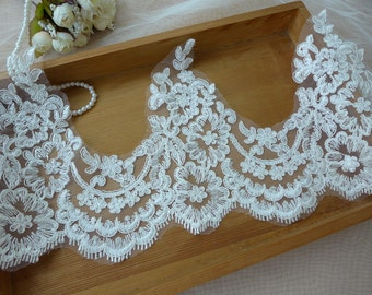 Ivory corded lace, bridal veils trim, ivory wedding lace, for bridal gloves & gowns