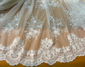 Floral scalloped lace fabric, off white tulle fabric, retro lace fabric, off white bridal lace fabric by yard