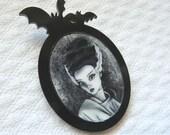 Bride of Frankenstein brooch with my original illustration, bats brooch, horror movie, halloween jewelry, halloween brooch, gothic, goth