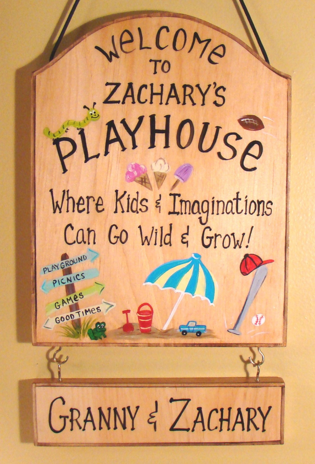 Custom sign for kids room girls boys play house camping tree for Signs for kids rooms