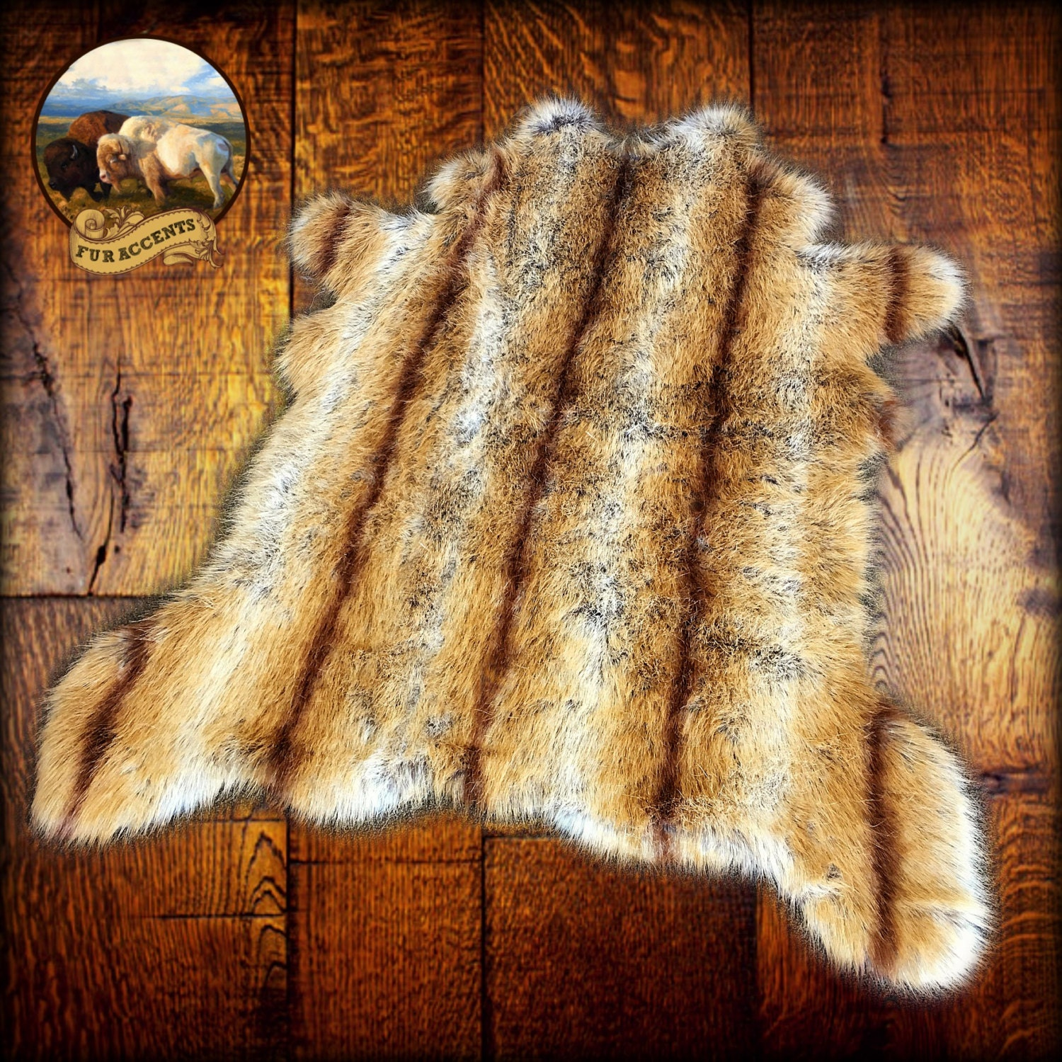 Shaggy Faux Fur Area Throw Rug Caramel Brown And Off White