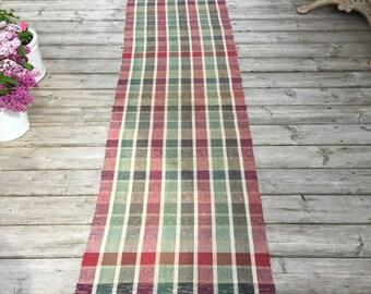 RR1315 Long 3.8m Vintage Hungarian Rag Rug in Red Olive Black Check Stripe