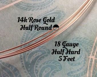15% Off Shop! 14K ROSE Gold Filled Wire, HALF ROUND, 18 Gauge, 5 Feet, Half Hard
