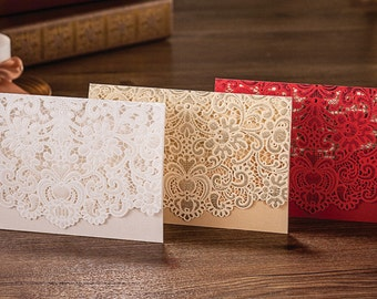 3 Colors Options Laser Cut White Wedding Invitation Card with Embossed Flower