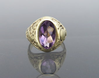 Reserved for Piyu Sen...2nd payment..Antique Tiffany & Co. 14K Solid YG Class Ring 1929 Hunter Collage NYC 2ct Natural Amethyst Size 5