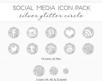 Social Media Icon Set, Silver Glitter Circle