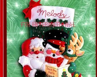 "Bucilla Caroling Trio ~ 18"" Felt Christmas Stocking Kit #84189, Santa, Snowman DIY"