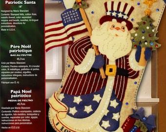 "Bucilla Patriotic Santa ~ 18"" Felt Christmas Stocking Kit #85430 Stars & Stripes DIY"