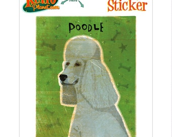 Poodle Grey Little Dog Vinyl Sticker - #63672